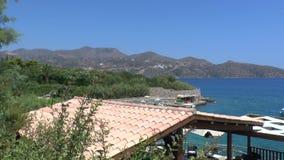 Sea view of Mirabello Bay Crete stock footage