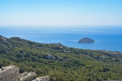 Sea view from Monolithos castle on the Rhodes island, Greece. Beautiful sea view from Monolithos castle on the Rhodes island, Greece stock images
