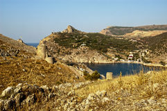 Sea view from a mountain slope Royalty Free Stock Photo