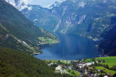 Geiranger, Norway. Sea view on mountains in Geiranger fjord, Norway Royalty Free Stock Image