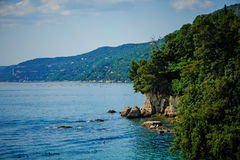 Sea view near Miramare castle, Trieste, Italy Stock Photos