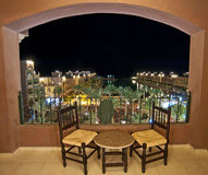 Sea view at night from a hotel room balcony. View from the balcony of a luxury hotel in a tropical resort at night Stock Images