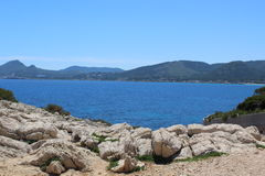 Sea view North Mallorca. Beautiful sea and mountain view  in a  blue sky in  North Mallorca Stock Photos