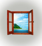 Sea view through an open window Royalty Free Stock Photo