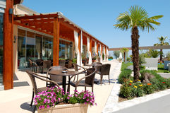 Sea view outdoor restaurant. At the modern luxury hotel, Pieria, Greece Royalty Free Stock Photography
