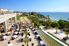 Sea view outdoor restaurant at the luxury hotel. Peloponnes, Greece Stock Images