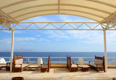 The sea view outdoor terrace at luxury hotel Stock Images