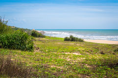 Sea view panorama. Coast of the sea. Waves and blue sky. Rural Vietnam Royalty Free Stock Image