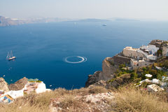 Sea view panorama of Santorini island, Ia Stock Image