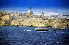 Light house and panoramic view of Valletta,Malta. Sea view panoramic photo of light house and entrance to Valleta harbour,Malta Royalty Free Stock Images