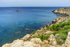 Sea view from the park Cavo Greco. In Ayia Napa Stock Images