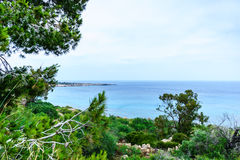 Sea view from the park Cavo Greco. In Ayia Napa Royalty Free Stock Photography