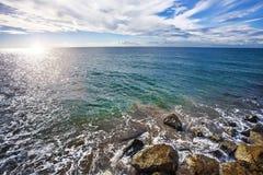Sea view from Parròquia de Sant Bartomeu i Santa Tecla Sitges S Stock Photo