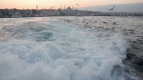 Sea view from a passenger boat in Istanbul stock video