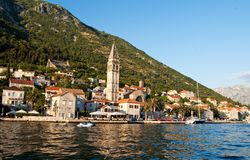 Sea view of Perast town Stock Photography