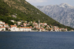 Sea view of Perast town Stock Image
