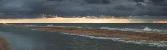 Sea View. The picture shows the sea during sunset before the storm Stock Images