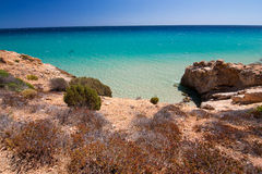 Sea view in Pinus Village, Sardinia. View on the calm sea with various colors in Pinus Village - an exclusive beach on the South of Sardinia, Italy. Closed to Royalty Free Stock Photography