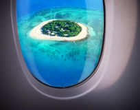 Sea view from plane window Stock Images
