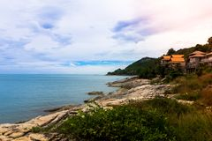 Sea view point Lad Koh and big stone beach with villa, Koh Samui. Thailand Royalty Free Stock Photography