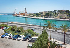 Sea view from Porto Pi. PALMA DE MALLORCA, BALEARIC ISLANDS, SPAIN - MAY 16, 2016: Sea view from Porto Pi and harbor in Palma de Mallorca, Balearic islands Royalty Free Stock Image