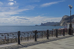 Sea view from the promenade. Crimea. Royalty Free Stock Photography