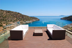 Sea view relaxation area of luxury hotel Royalty Free Stock Photo