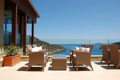 Sea view relaxation area of luxury hotel Royalty Free Stock Photography