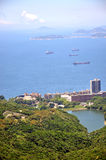 Sea view and residence area in coast of Hongkong Royalty Free Stock Images