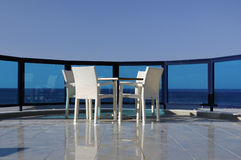 Sea view restaurant. Sea view glass balcony restaurant Stock Image