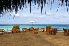Sea View Restaurant. A seaside restaurant has a sea view platform Stock Photos