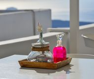 Sea view restaurant with colorful jars royalty free stock photos