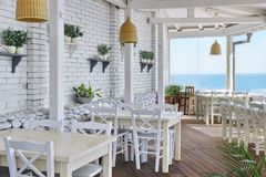 Sea View Restaurant Interior Royalty Free Stock Photography
