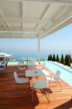 Sea view restaurant at the modern luxury hotel. Pieria, Greece Royalty Free Stock Photo