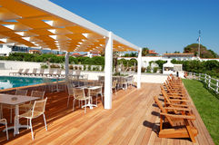 Sea view restaurant at the modern luxury hotel. Pieria, Greece Royalty Free Stock Photos