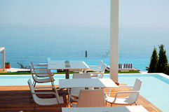 Sea view restaurant at the modern luxury hotel. Pieria, Greece Stock Photo