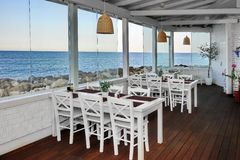 Sea View Restaurant Summer Pavilion Interior Stock Photography