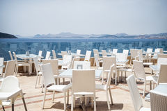 Sea View Restaurant. With white chairs and tables Stock Images