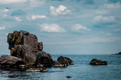 Sea view with rock cliff. In sozopol, bulgaria Royalty Free Stock Photo