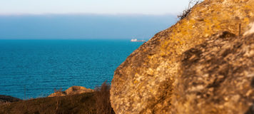 Sea view from the rocks. Evening view of the sea from the rocks royalty free stock image