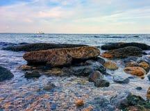 Seascape from the rocky coast and ship. Sea view from the ricky ciast and ship Stock Images