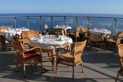 Sea view romantic restaurant Royalty Free Stock Photography