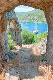 The sea view from the ruined arch of St. Nicholas church. On Gemiler Island, Fethiye, Turkey Royalty Free Stock Images