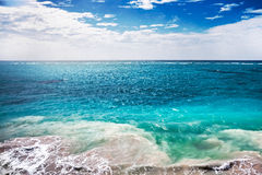 Sea view. Seascape of  Caribbean Sea in stormy morning royalty free stock photography