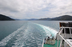 Sea view from ship. Between South and North Island, New Zealand Royalty Free Stock Images