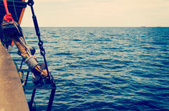 Sea view from the shipboard. Sea view from the board of sailing ship; Vintage style photo Stock Photo