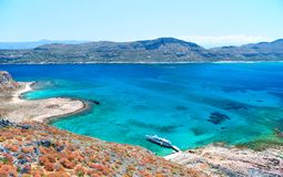 Sea View with a Shipwreck. As photographed from the Fortress of Gramvousa, Crete Stock Image