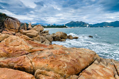 Sea view on small settlement from island of big rocks Royalty Free Stock Photo