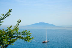 Sea view from Sorrento. With Vesuvio on background Stock Image