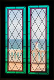 Sea view through the stained-glass window Royalty Free Stock Image
